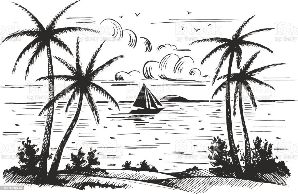 Seashore beach with palm trees vector art illustration