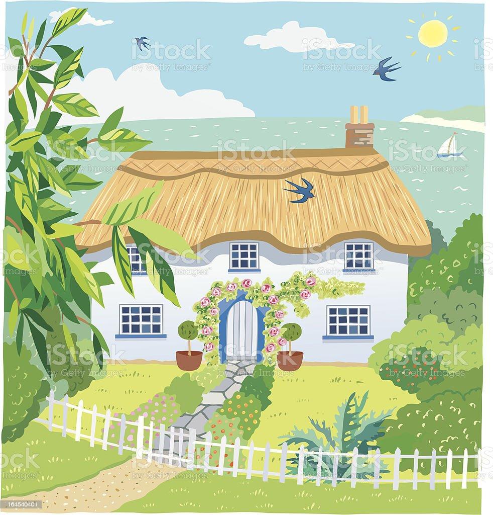 Seaside Cottage vector art illustration