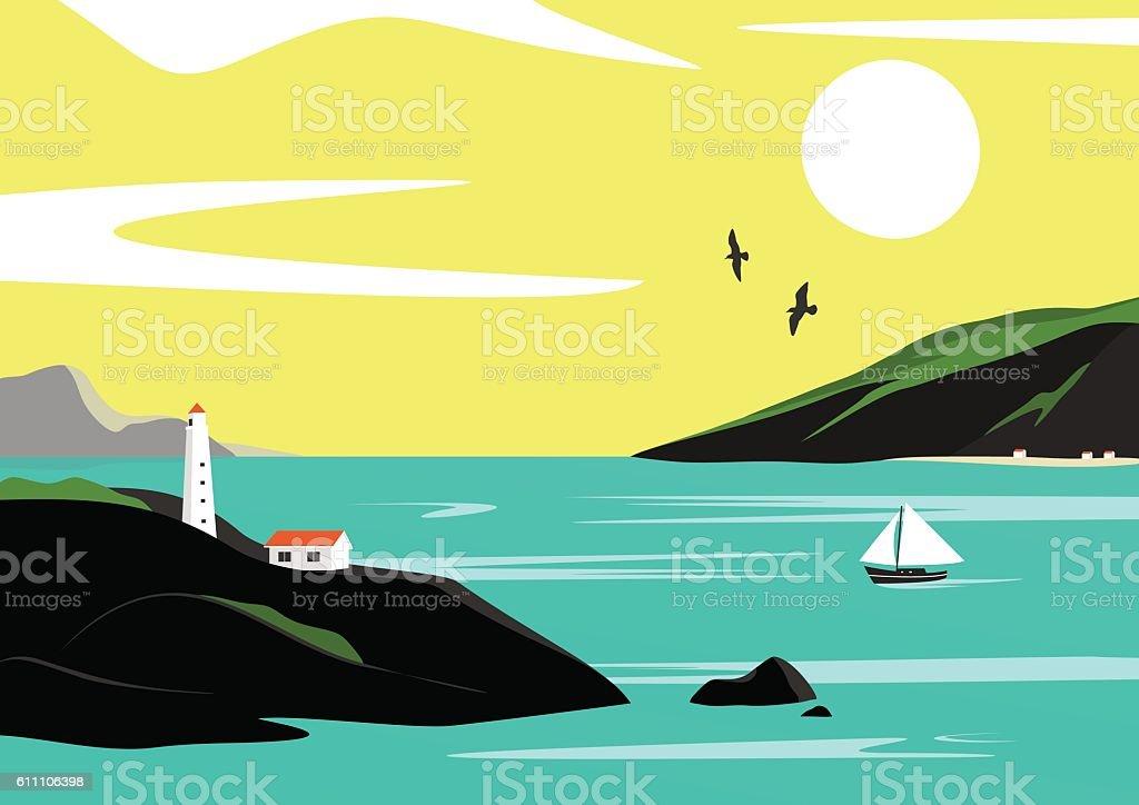 Seaside landscape vector art illustration