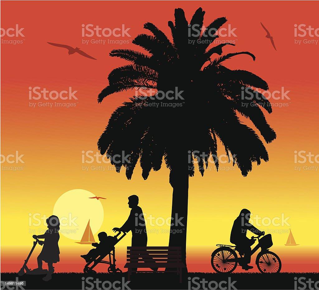 seaside promenades royalty-free stock vector art