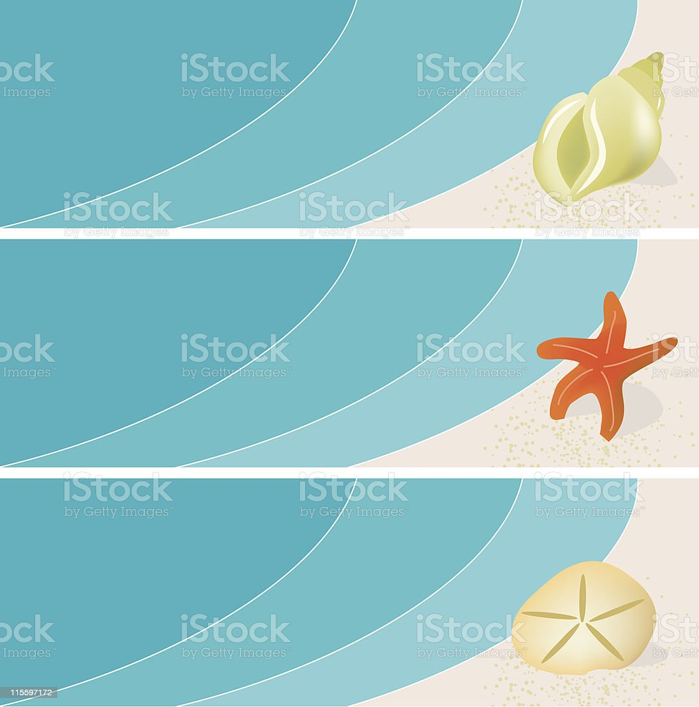 Seaside Seashell Banners vector art illustration