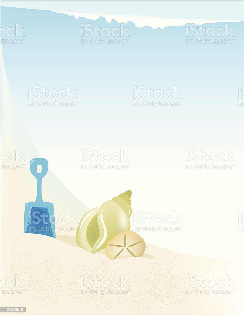 Seaside Seashell Frame vector art illustration