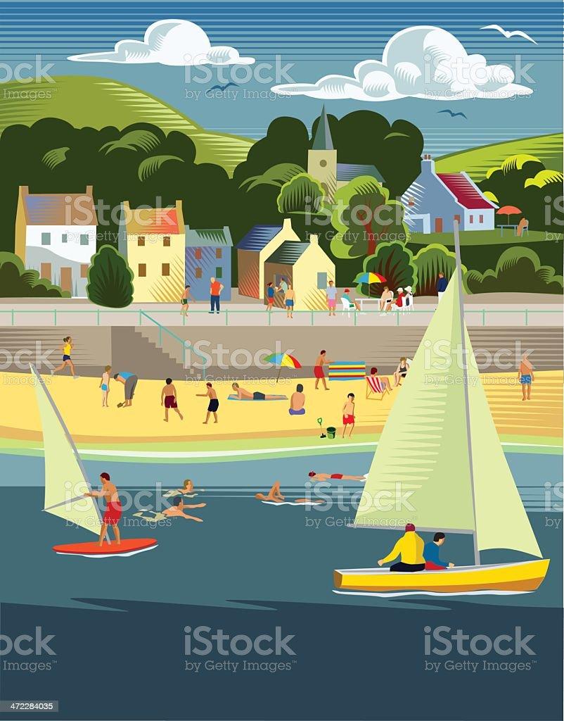 Seaside town with beach vector art illustration