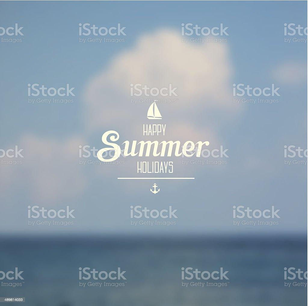 Seaside view poster vector art illustration