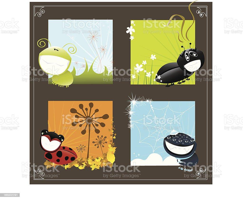 Season Bugs vector art illustration