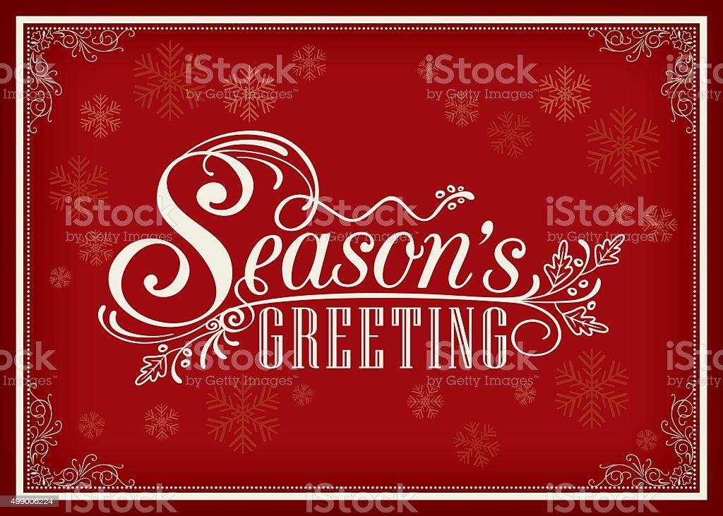Season greeting word vintage frame design vector art illustration