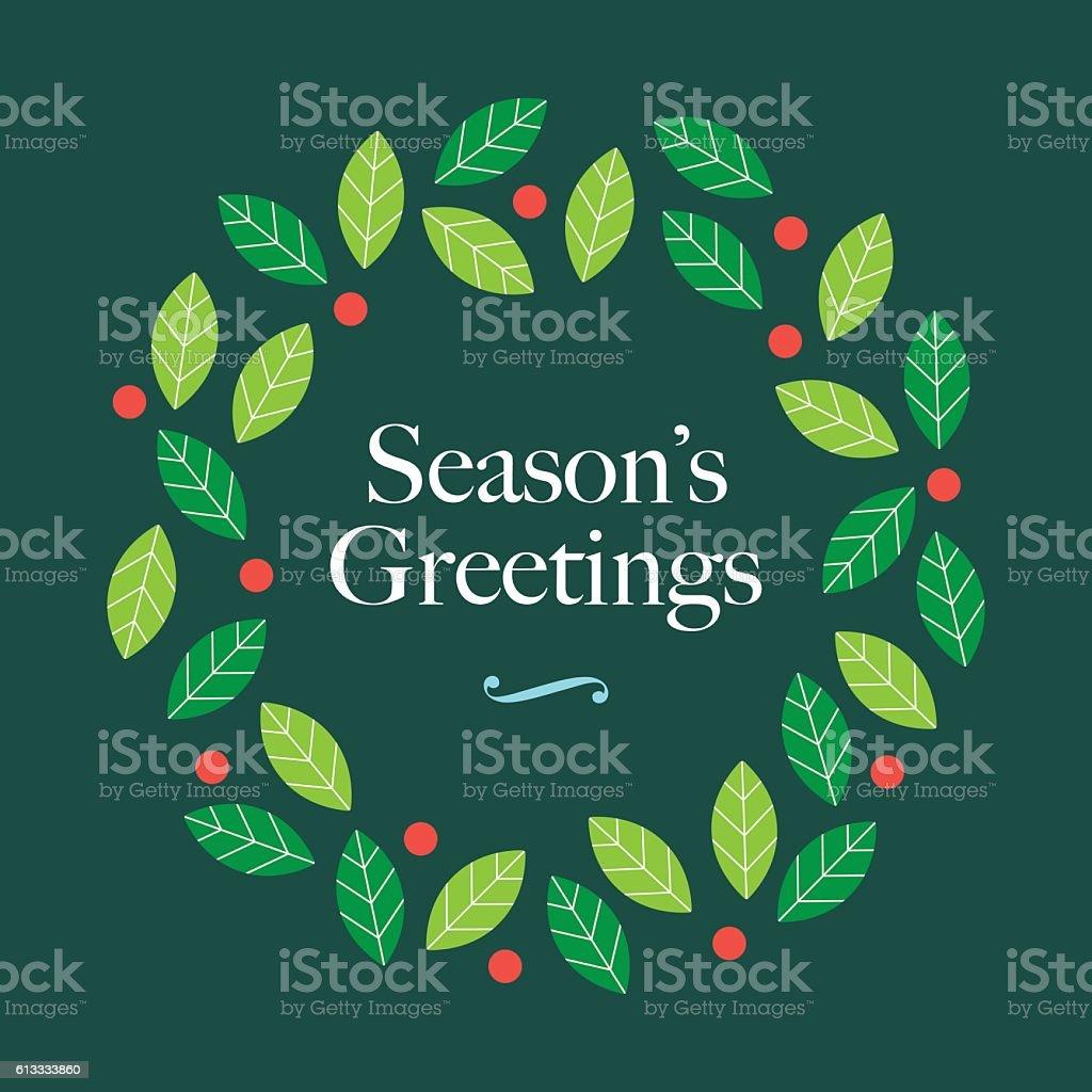Season Greetings card with wreath mistletoe and logo. vector art illustration