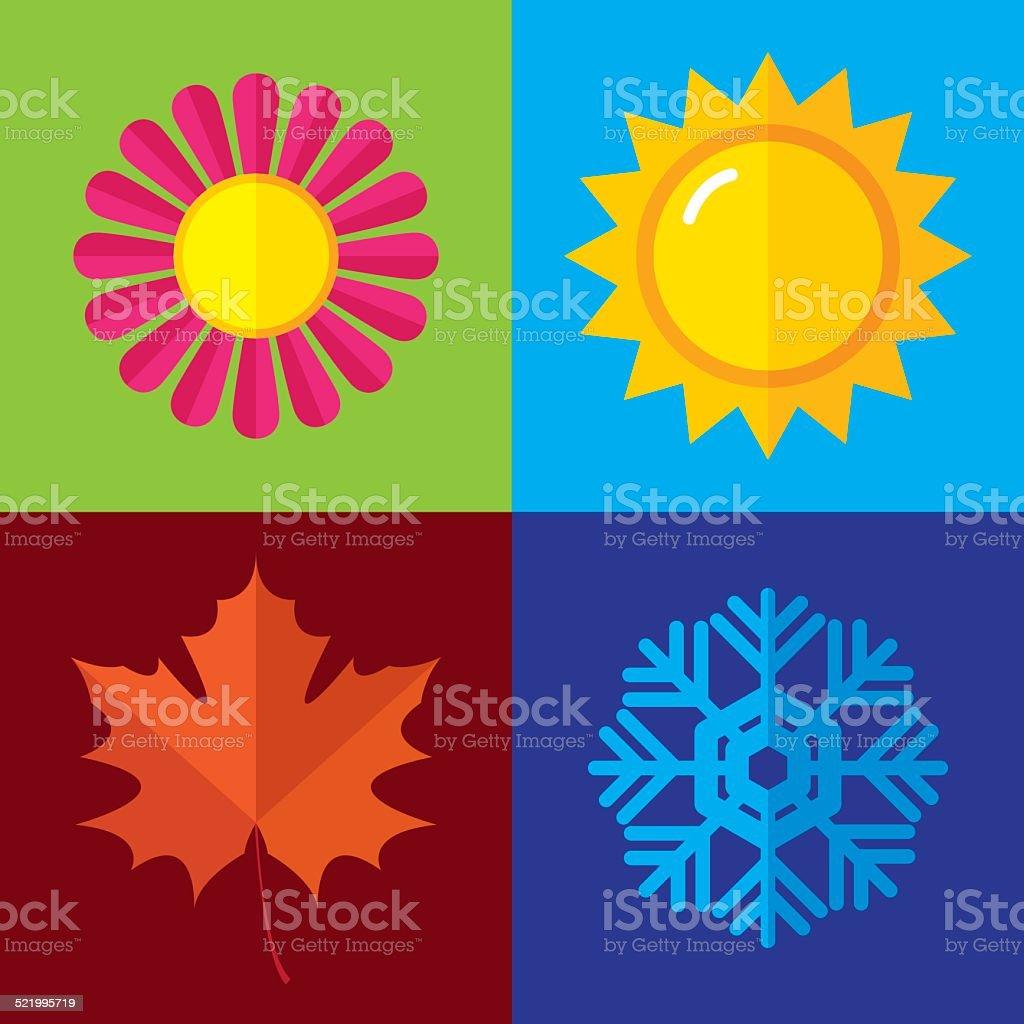 Season Icons Flat vector art illustration