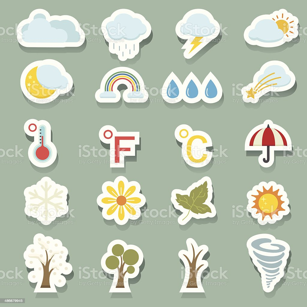 season icons sticker royalty-free stock vector art