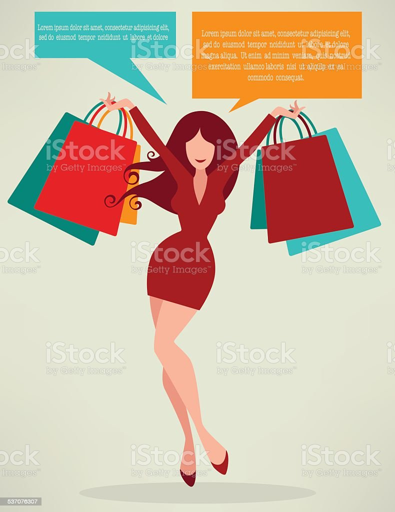 season of shopping,  girl  and  bags vector art illustration