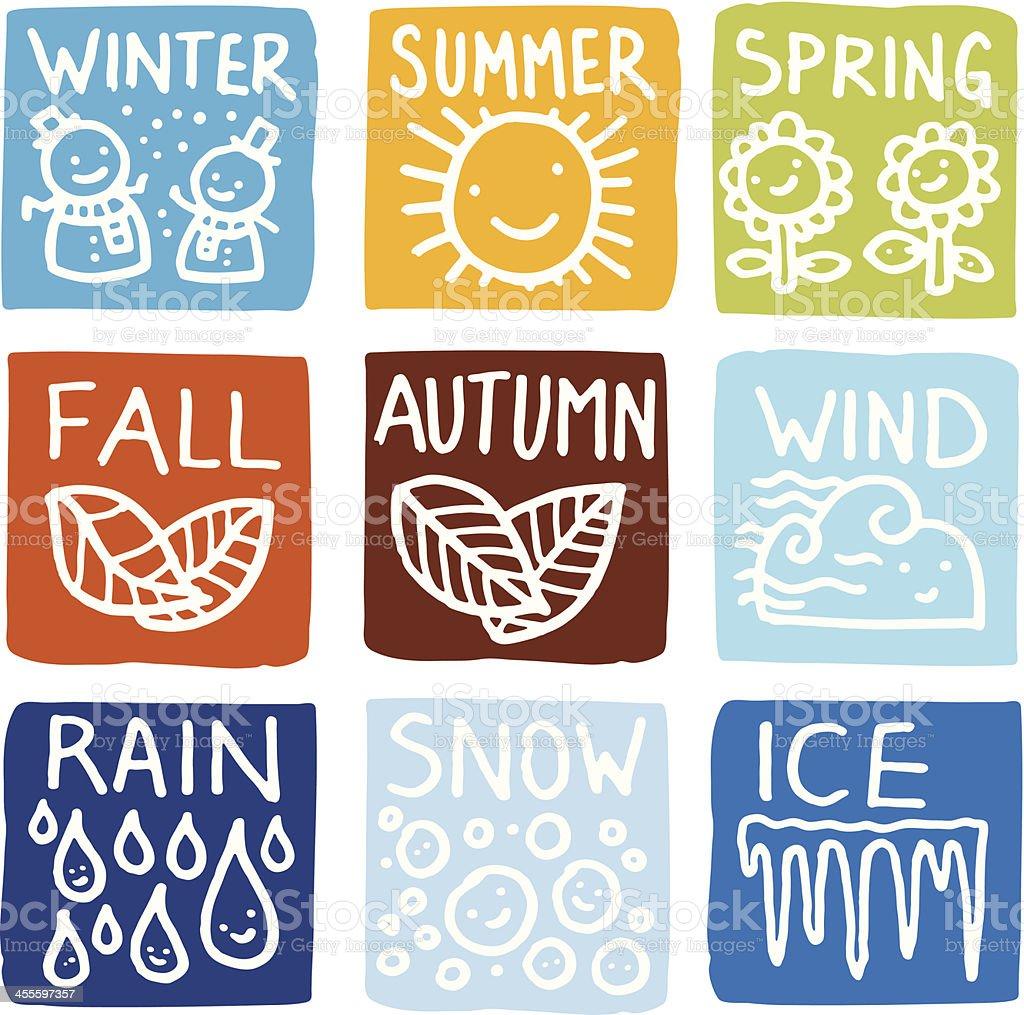 Seasonal block icon set royalty-free stock vector art