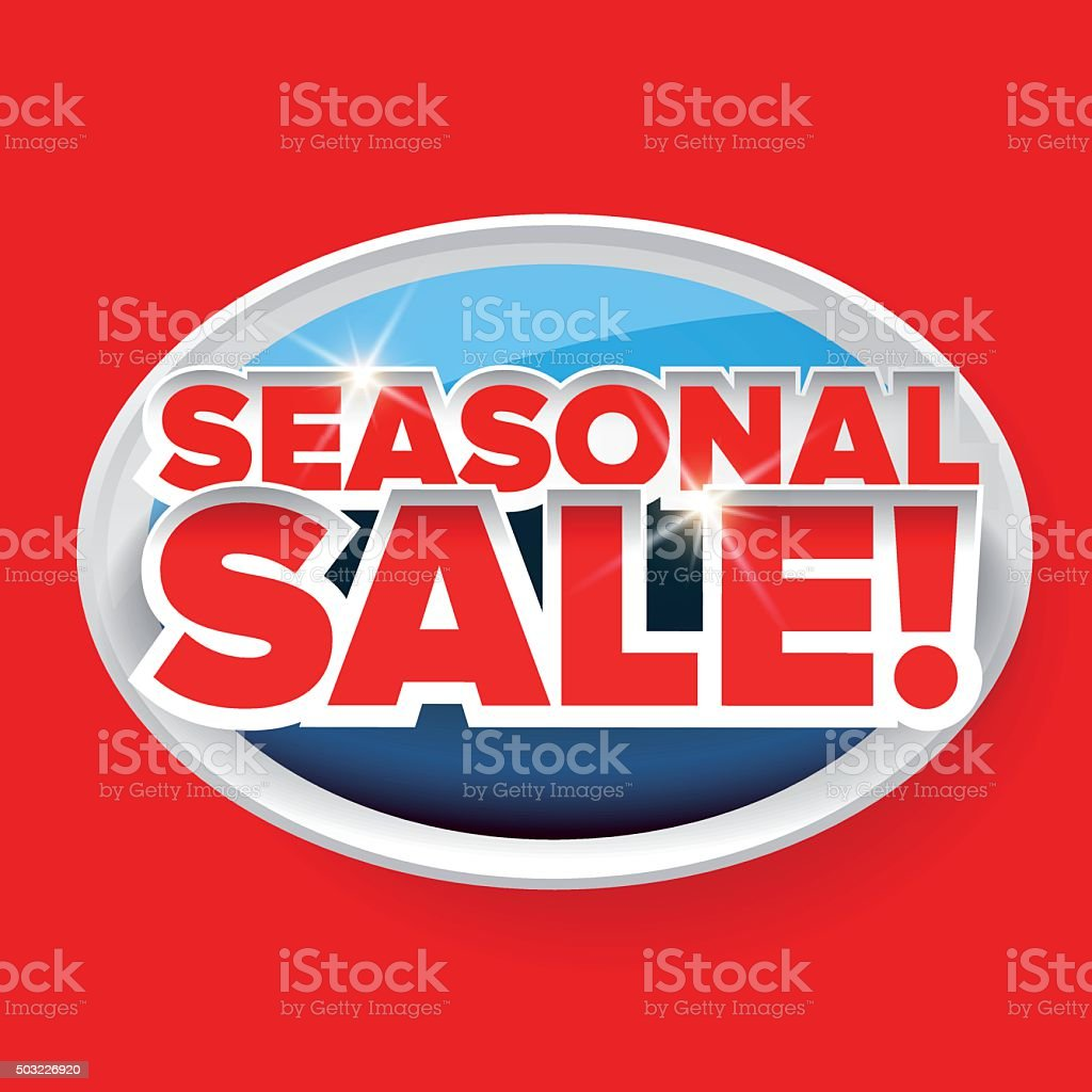 Seasonal sale button vector red lettering vector art illustration