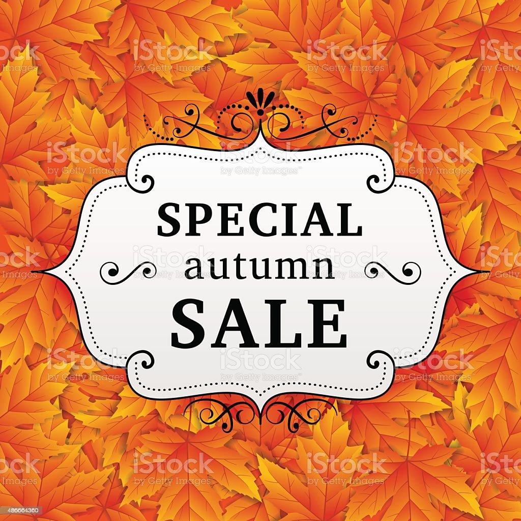 Seasonal special autumn sales business background vector art illustration