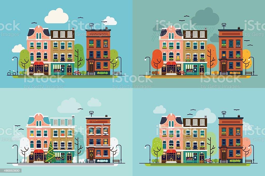 Seasonal town landscapes vector art illustration