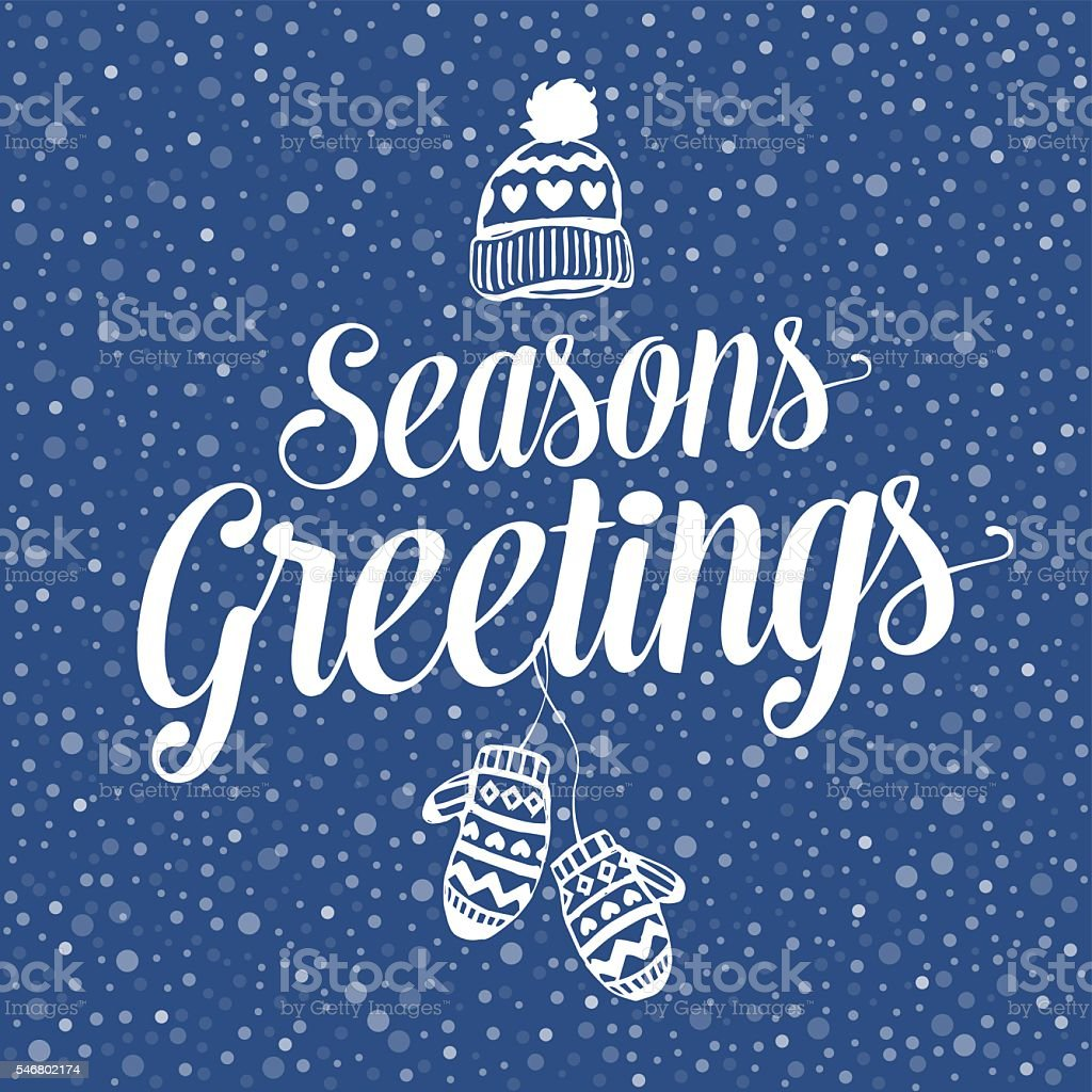Seasons Greetings Hat and mittens vector art illustration