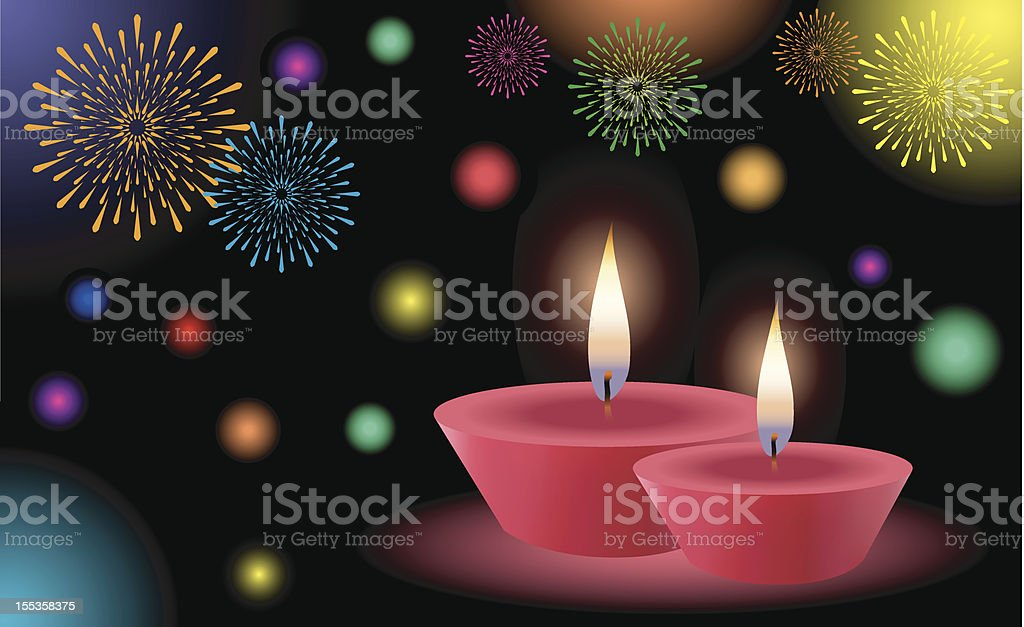 Season's Greetings with Glowing Lamps royalty-free stock vector art