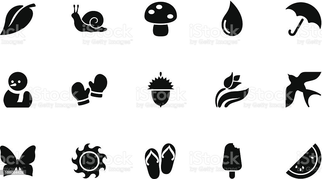 Seasons icons . Simple black vector art illustration