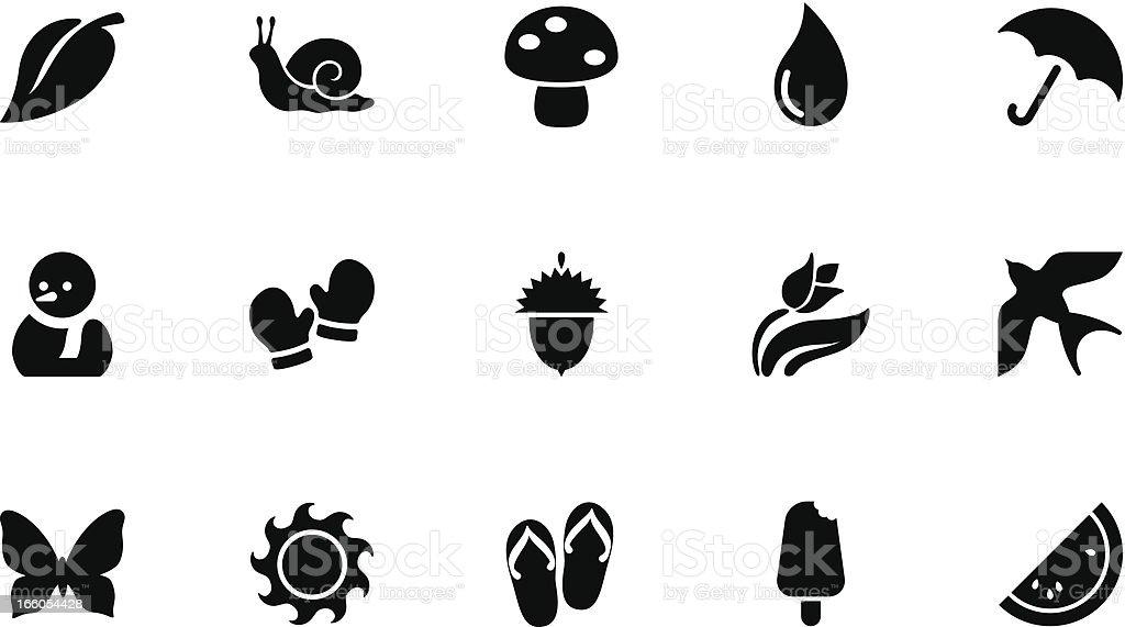 Seasons icons . Simple black vector art illustration