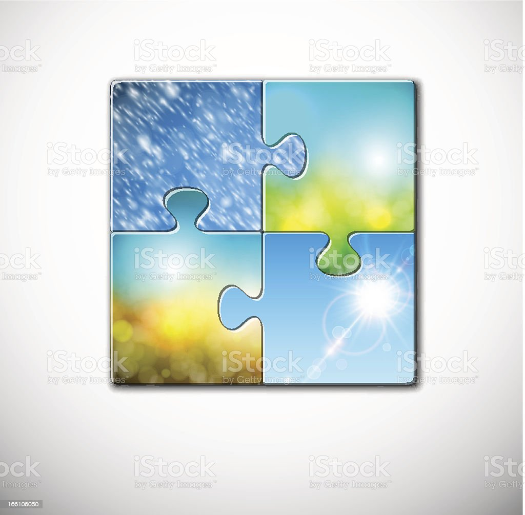 Seasons in puzzle royalty-free stock vector art