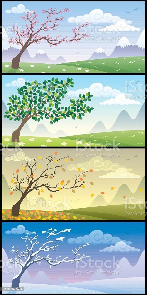 Seasons Landscapes vector art illustration