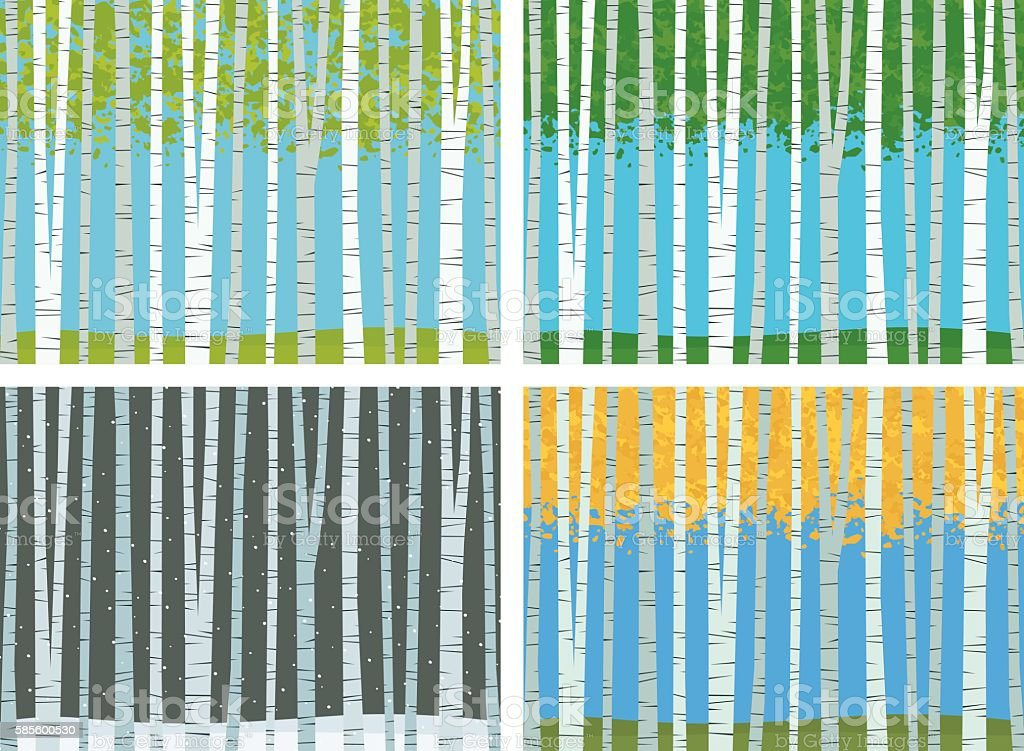 Seasons Of Birch vector art illustration
