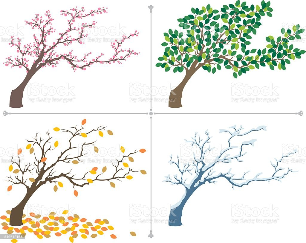 Seasons vector art illustration