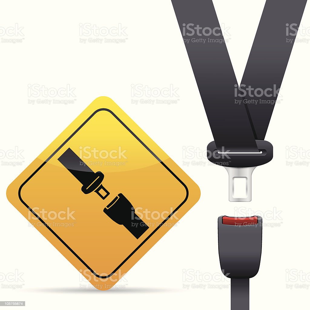 seat belt and warning sign vector art illustration