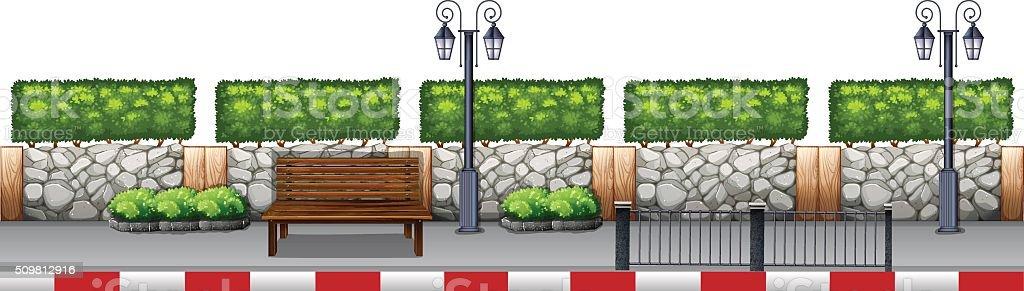 Seat on the sidewalk vector art illustration
