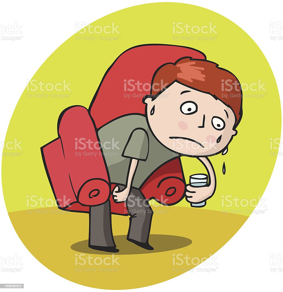 Seat stuck to his ass! Very hot. royalty-free stock vector art