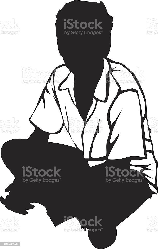 Seated Boy Silhouette vector art illustration