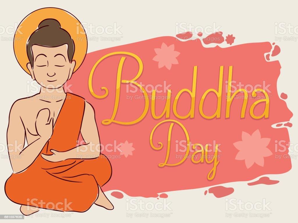 Seated Buddha Meditating with Brushstroke and Lotus Flowers for Vesak vector art illustration
