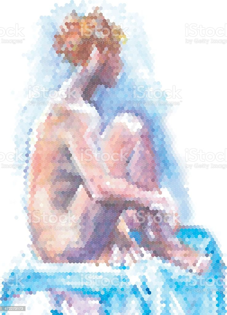 Seated Girl- made from dots vector art illustration
