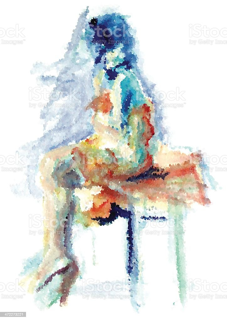 Seated Girl- Watercolor style made from dots royalty-free stock vector art