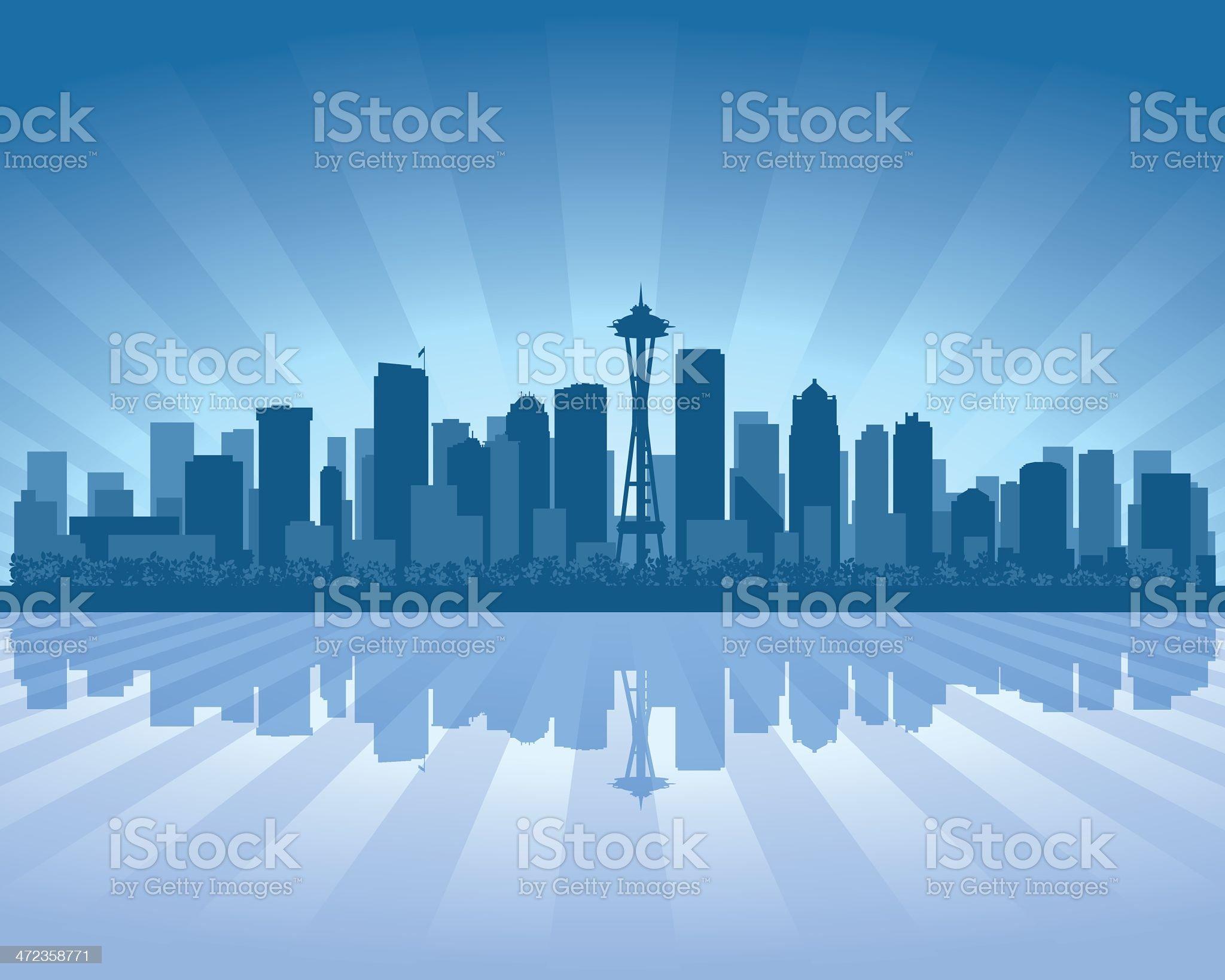 Seattle Blue City skyline silhouette royalty-free stock vector art
