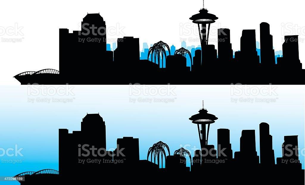 Seattle Blue Skies royalty-free stock vector art