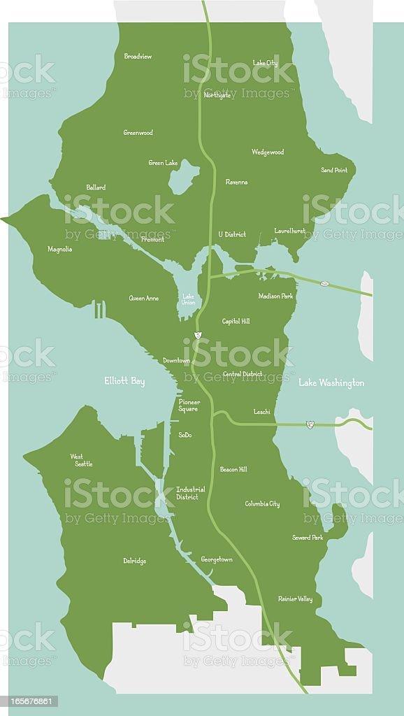 Seattle City Neighborhood Map royalty-free stock vector art