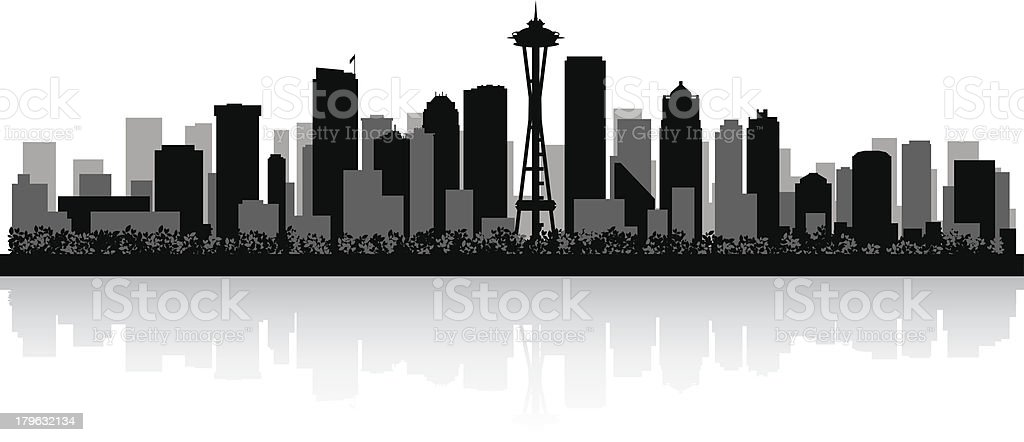 Seattle City skyline silhouette royalty-free stock vector art