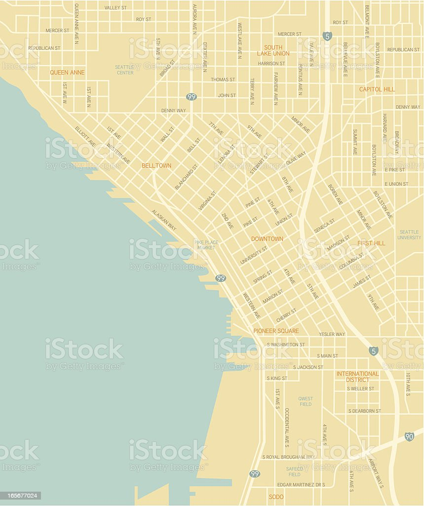 Seattle Downtown Map vector art illustration
