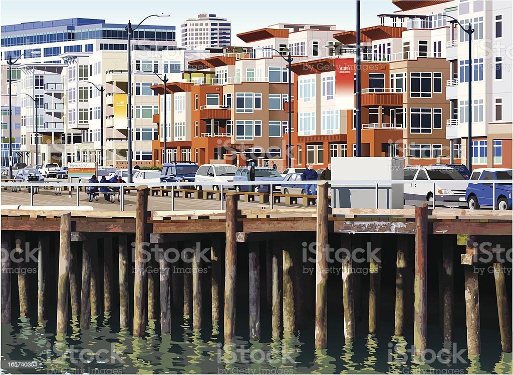Seattle Pier royalty-free stock vector art