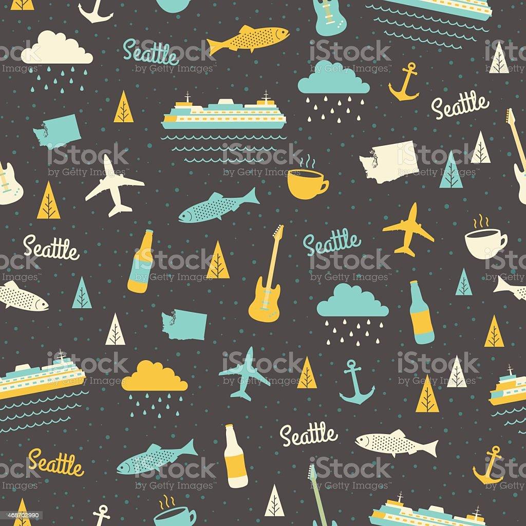 Seattle Seamless Pattern vector art illustration