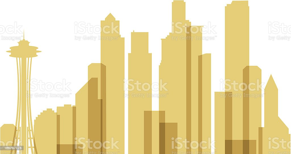Seattle Skyline Silhouette royalty-free stock vector art