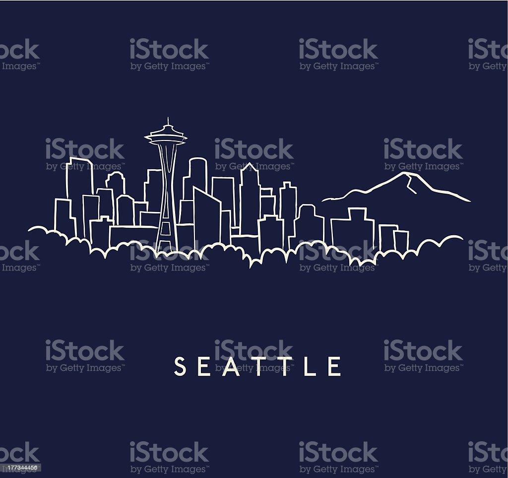 Seattle Skyline Sketch royalty-free stock vector art