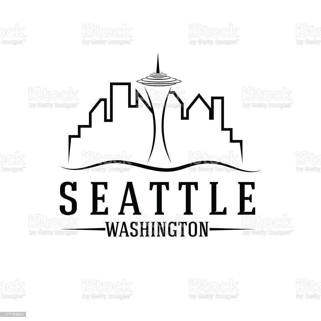 seattle skyline vector design template vector art illustration