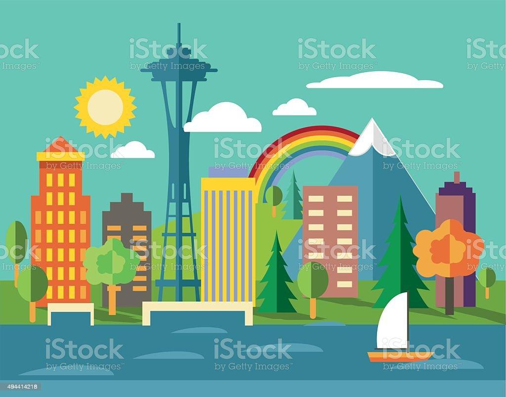 Seattle Skyline vector art illustration