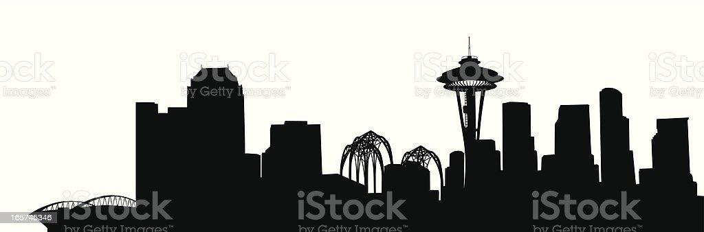Seattle Skyline Vector Silhouette royalty-free stock vector art