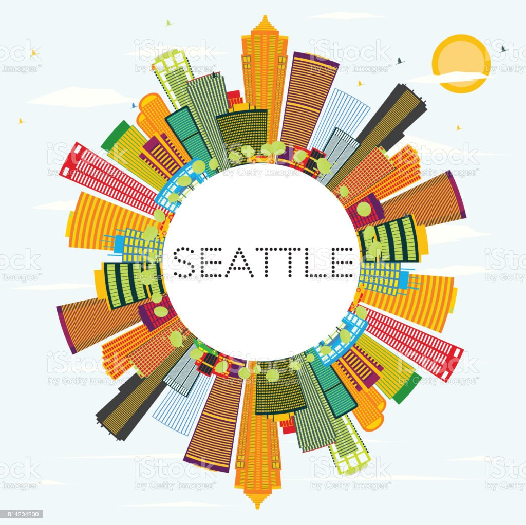 Outline athens skyline with blue buildings and copy space stock vector - Seattle Skyline With Color Buildings And Copy Space Royalty Free Stock Vector Art