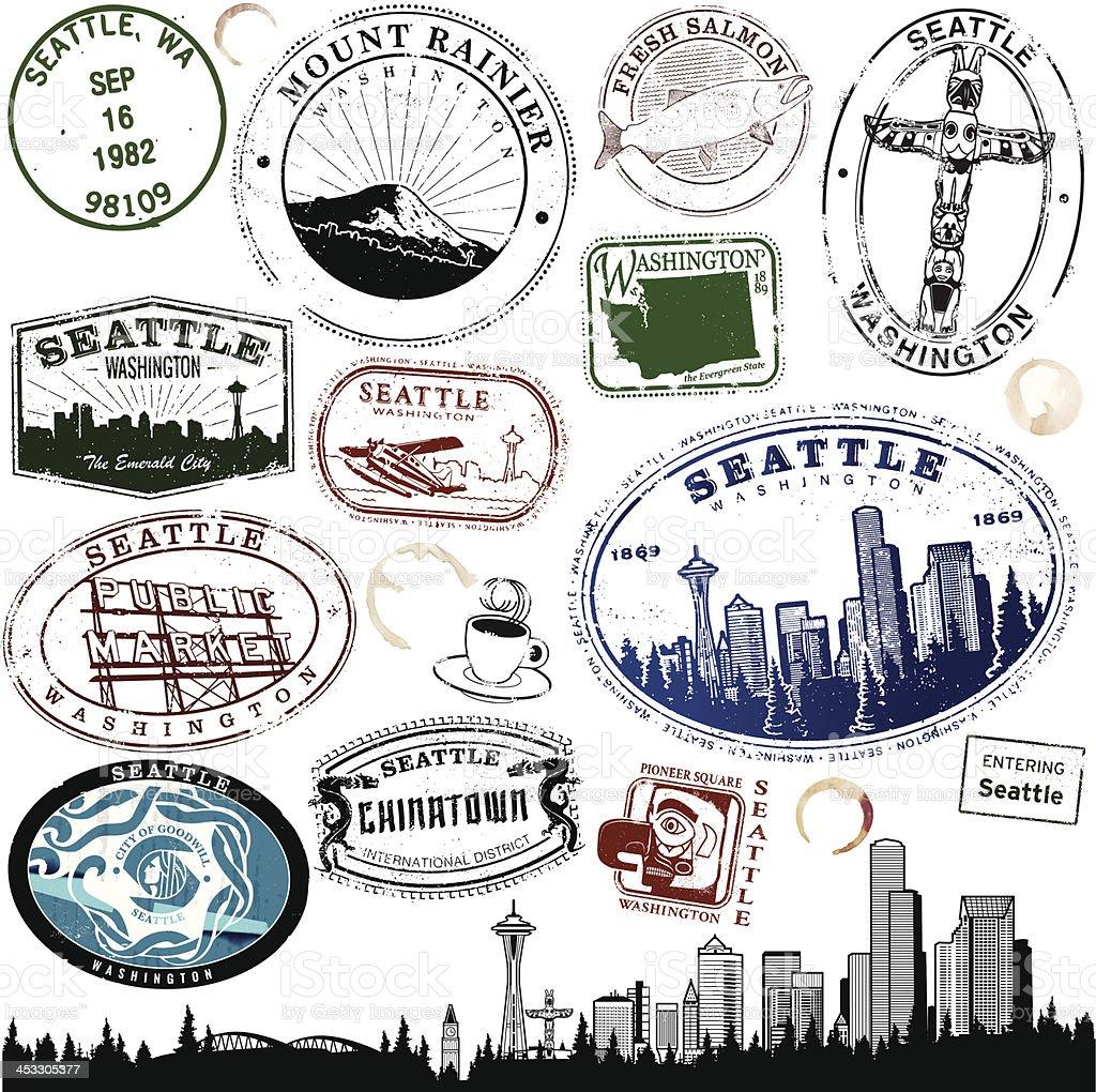 Seattle VIntage Stamps vector art illustration