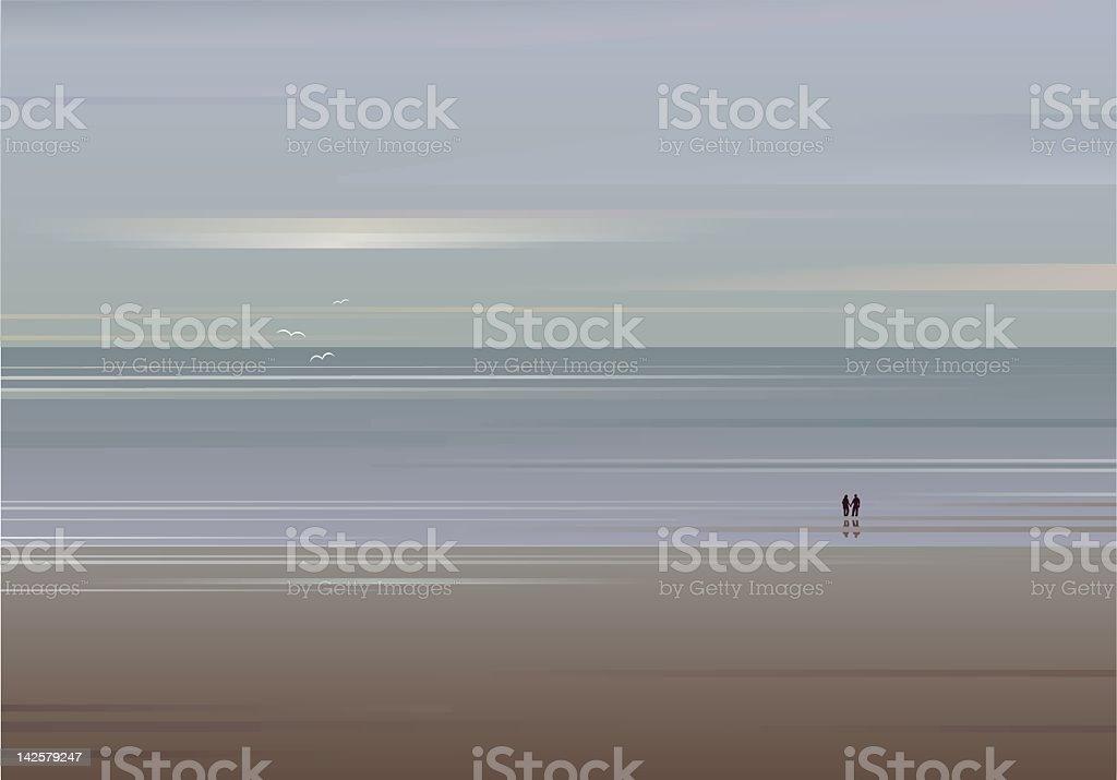 Secluded Beach Vector vector art illustration