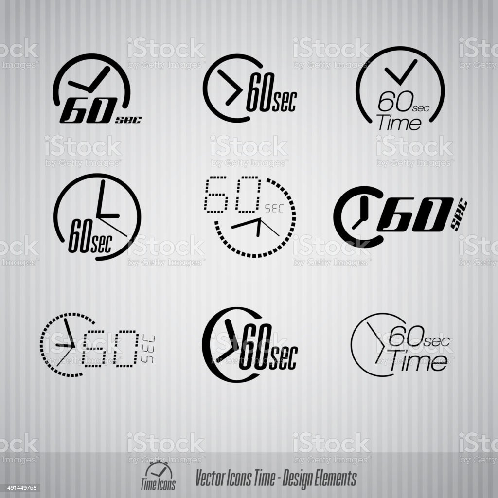 60 seconds vector icons vector art illustration