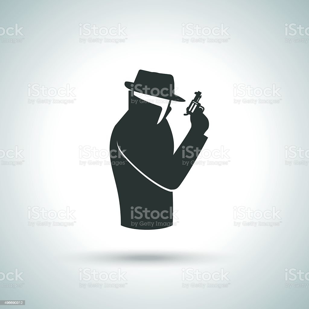 Secret agent icon vector art illustration